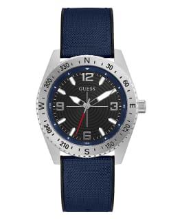Silver Tone Case Blue Nylon/Silicone Watch, , large