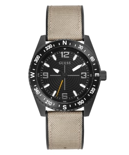 Black Case Beige Nylon/Silicone Watch, , large