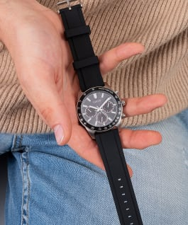 Silver Tone Case Black Silicone Watch, , large