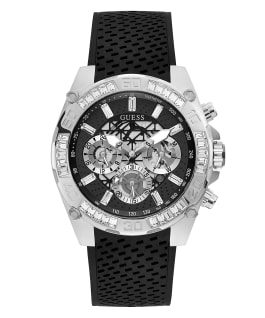 Silver Tone Case Black Silicone Watch  large