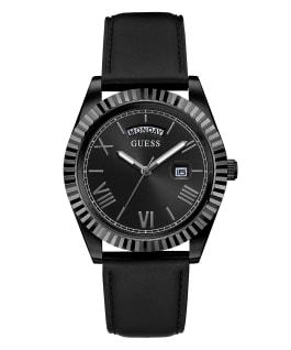 Black Case Black Genuine Leather Watch  large