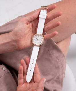 Rose Gold Tone Case White Silicone Watch, , large