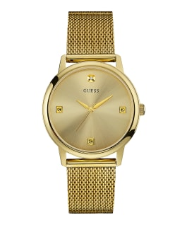Gold Tone Case Gold Tone Stainless Steel/Mesh Watch  large