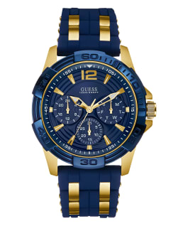 Gold Tone Case Blue Silicone Watch  large