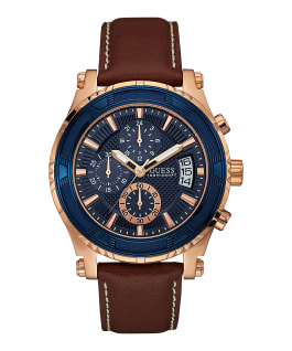 Rose Gold Tone Case Brown Genuine Leather Watch, , large