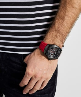 Black Case Red Silicone Watch, , large