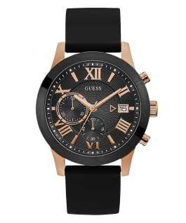 Rose Gold Tone Case Black Silicone Watch, , large