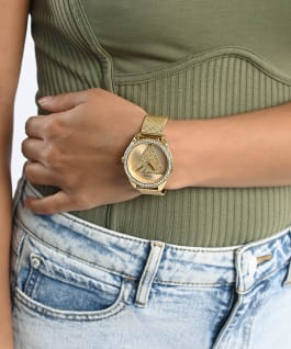 Gold Tone Case Gold Tone Stainless Steel/Mesh Watch, , large