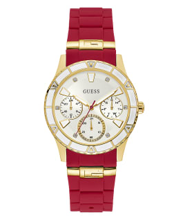 Gold Tone Case Red Silicone Watch, , large