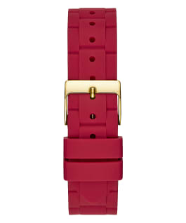 Gold Tone Case Red Silicone Watch  large