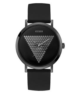 Black Case Black Silicone Watch, , large
