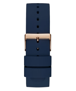 Rose Gold Tone Case Blue Silicone Watch, , large