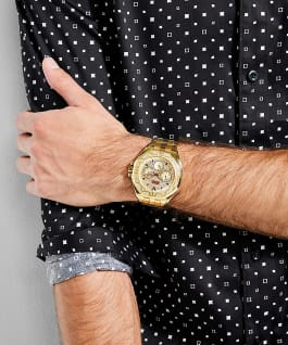 Gold Tone Case Gold Tone Stainless Steel Watch, , large