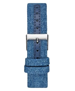 Silver Tone Case Blue Genuine Leather Watch  large