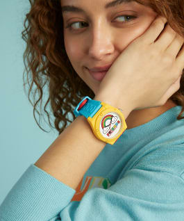 GUESSxFriendsWithYou 42mm VIBRANT SILICONE STRAP WATCH, , large