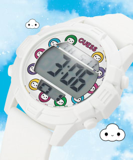 GUESSxFriendsWithYou 41mm WHITE SILICONE STRAP WATCH, , large