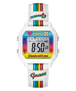 GUESSxFriendsWithYou 39mm WHITE LEATHER STRAP WATCH, , large