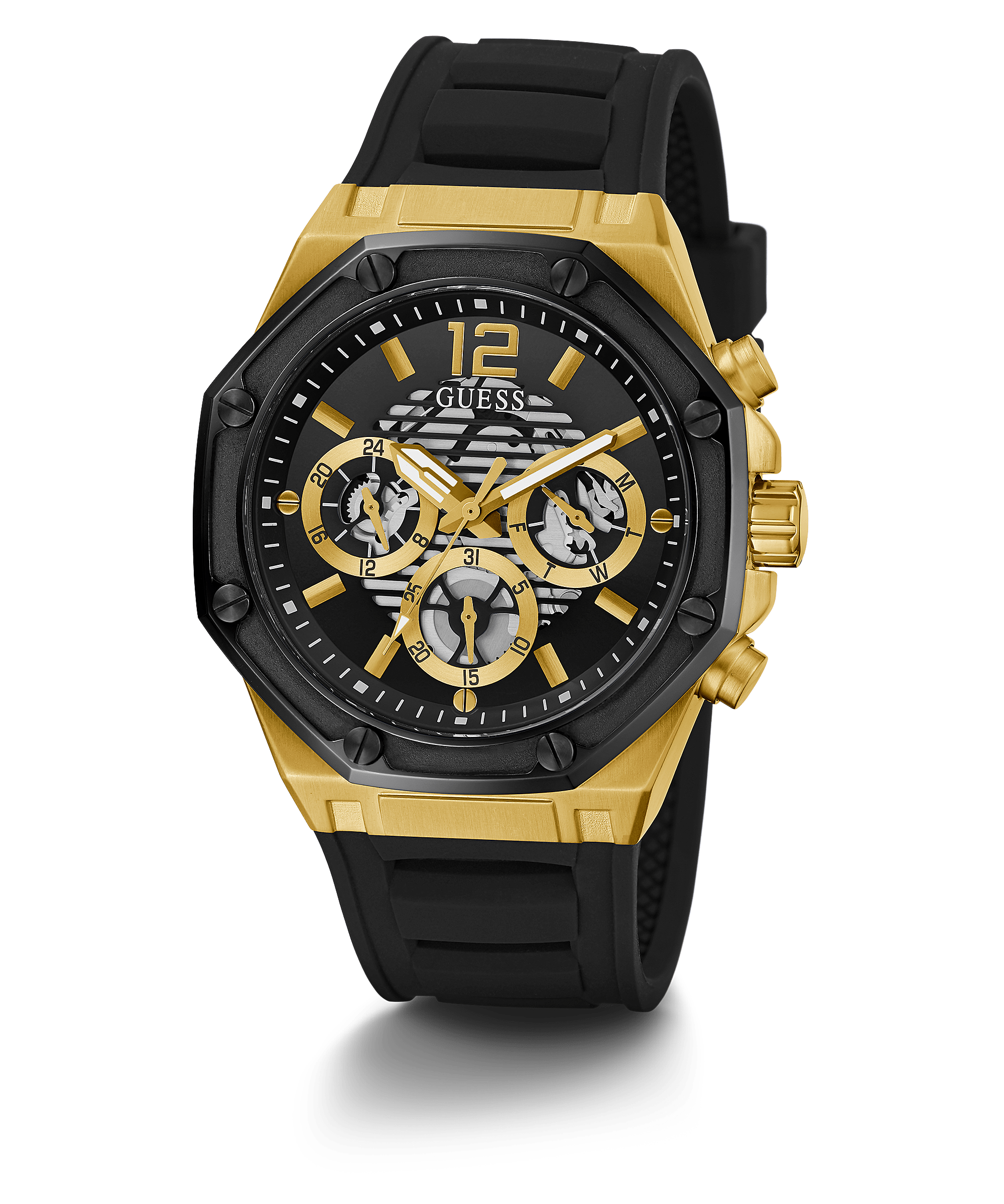 Guess Black and Gold-Tone Multifunction Watch